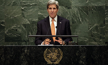 U.S. Secretary of State John Kerry addresses the 2015 Nuclear Nonproliferation Treaty (NPT) review conference, in the United Nations General Assembly, Monday, April 27, 2015.