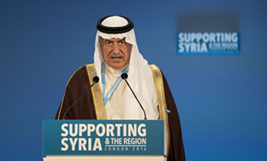 Saudi Arabia's Finance Minister Ibrahim Abdulaziz Al-Assaf makes a pledge during the second co-host chaired thematic pledging session for jobs and economic development during the 'Supporting Syria and the Region' conference Feb. 4, 2016.