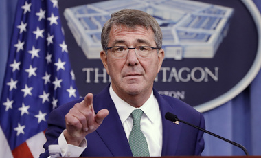 Defense Secretary Ash Carter calls on a reporter during a joint news conference with Indian Defense Minister Manohar Parrikar at the Pentagon, Monday, Aug. 29, 2016.