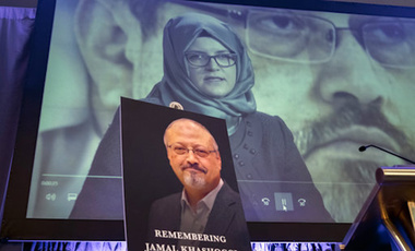 A video image of Hatice Cengiz, fiancee of slain Saudi journalist Jamal Khashoggi. (AP Photo/J. Scott Applewhite)