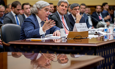 Secretary of Energy Ernest Moniz, left, accompanied by Sec. of State John Kerry, testifies on the Iran nuclear agreement during a House Foreign Affairs Committee hearing on July 28, 2015.