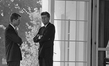 U.S. President John F. Kennedy, right, confers with his brother Attorney General Robert F. Kennedy at the White House on Oct. 1, 1962 during the buildup of military tensions between the U.S. and the Soviet Union that became the Cuban missile crisis.