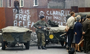 An armed British soldier in Belfast, Northern Ireland during disorders in September 1969.