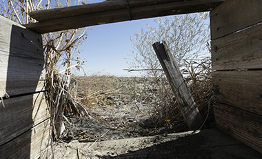 In this photo taken Friday Oct. 10, 2014, a dilapidated rice box, normally used to control the flow of water between two rice fields, sits idle on a field that has been fallowed due to the drought, near Davis, Calif.