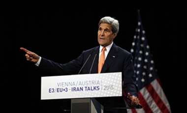U.S. Secretary of State John Kerry delivers a statement on the Iran talks deal at the Vienna International Center in Vienna, Austria Tuesday July 14, 2015.