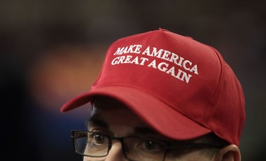 Make America Great Again hat worn by Donald Trump supporter, 2016