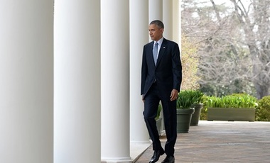 United States President Barack Obama walks to the podium to make a statement after it was announced Iran and and six world powers agreed on the outlines of an understanding that would open the path to a final phase of nuclear negotiations in the press bri