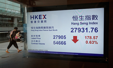 A man is reflected in a glass as an electronic stock board shows the Hang Seng Index at a bank in Hong Kong, Friday, Sept. 22, 2017. Most Asian stock markets fell Friday as investors turned cautious following new U.S. sanctions targeting North Korea and a China credit rating downgrade.
