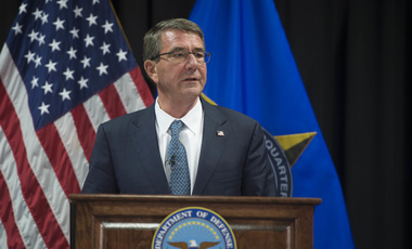 Secretary of Defense Ash Carter addresses the press after meeting with the defense ministers of countries that are making the most substantial contributions to the counter-ISIL fight at U.S. European Command Headquarters, May 4, 2016.