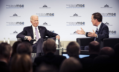 Joe Biden and Nicholas Burns at the Munich Security Conference