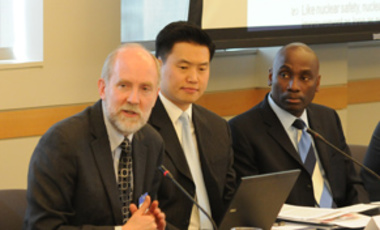 Matthew Bunn (left) presenting at the U.S. Institute of Peace, with MTA Fellow John Park and USIP's Abiodun Williams