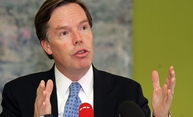 Nov 1 2007, Undersecretary of State Burns speaking at a press conference in Vienna, Austria, when he was lead negotiator for UNSC sanctions against Iran.