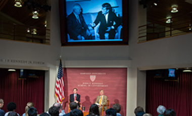 Belfer Center Director Graham Allison (right) and Future of Diplomacy Directory Nicholas Burns lead a conversation about the Cuban Missile Crisis for its 50th anniversary.