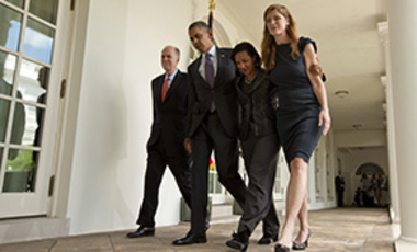 President Barack Obama outside the White House after announcing his nomination of Samantha Power (right) as UN ambassador. Also pictured: Tom Donilon and Susan Rice.