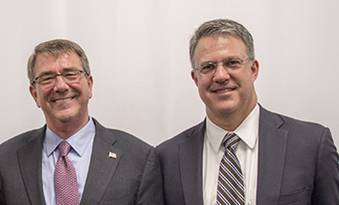 Secretary of Defense Ashton B. Carter and Chief of Staff Eric Rosenbach at the opening of the Defense Department's Defense Innovation Unit Experiment Office in Boston.