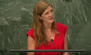 Amb. Samantha Power at a UN General Assembly Meeting on the Cuba Embargo