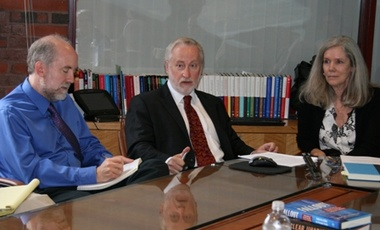 Authors Douglas Frantz (center) and Catherine Collins, with Associate Professor Matthew Bunn, at Harvard Kennedy School's Belfer Center for Science and International Affairs.