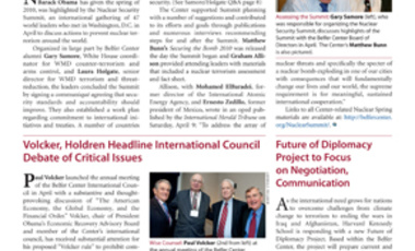 Belfer Center Newsletter Summer 2010
