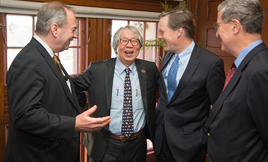 2014 Great Negotiator Award recipient Ambassador Tommy Koh (2nd from left) shares a laugh with (from left) Harvard Business School's James Sebenius, Harvard Kennedy School's Nicholas Burns, and Harvard Law School's Robert Mnookin.