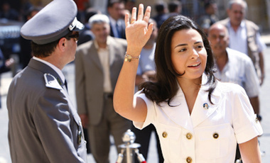 Lebanese lawmaker Nayla Tueni, the daughter of slain An-Nahar newspaper general manager and legislator Gibran Tueni, who was killed in 2005 by a car bombing, arrives at the Parliament for the election of the house speaker in Beirut, Lebanon, Thursday, June 25, 2009.