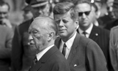 President John F. Kennedy arrived on June 23, 1963 at the airport in Cologne-Wahn for a four day visit to Germany. In front, chancellor Konrad Adenauer.
