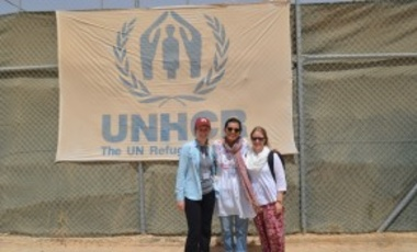 Harvard students Anina Hewey, Farida El-Gueretly and Sonya Temko at Za'atari Refugee Camp.