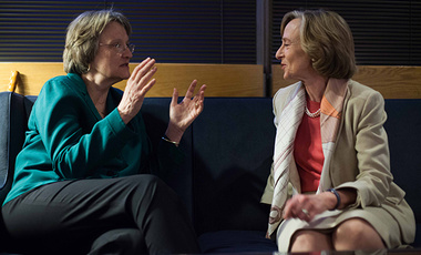 Harvard President Drew Gilpin Faust (left) with former MIT President Susan Hockfield before Hockfield's 2014 Godkin Lecture at Harvard Kennedy School.