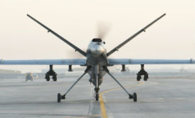 A Royal Air Force Reaper RPAS (Remotely Piloted Air System) at Kandahar Airfield in Afghanistan.