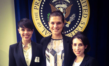 Harvard Kennedy School students at the White House Summit on Countering Violent Terrorism included (left to right) Olivia Zetter, Léa Steinacker, and Julia Stern.