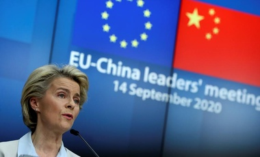 European Commission Ursula von der Leyen speaks at the EU-China leaders' meeting