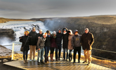 Members of the Arctic Circle delegations from Harvard Kennedy School and Tufts University at the Gullfoss Waterfall in Iceland.