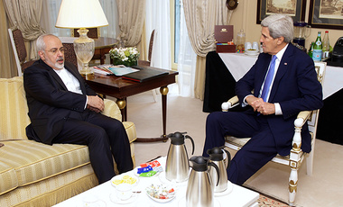 US Secretary of State John Kerry (right) and Iranian Foreign Minister Javad Zarif meet in Paris to discuss the Iranian nuclear deal.