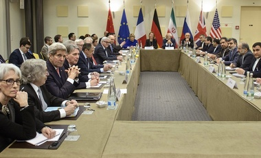 Negotiations over Iran's nuclear program in Lausanne, Switzerland, Mar. 2015.
