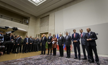 Global diplomats after reaching an interim agreement with Iran over its nuclear program on November 24, 2013.
