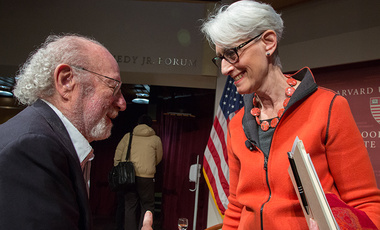 Following a discussion of the Iran nuclear deal at a Harvard Kennedy School JFK Jr. Forum in October, Ambassador Wendy Stewart speaks with a member of the audience.