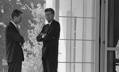 U.S. President John F. Kennedy and Attorney General Robert Kennedy at the White House on Oct. 1, 1962 during the buildup of tensions that became the Cuban Missile Crisis.
