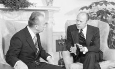 U.S. President Gerald Ford, right, visits with Israeli Prime Minister Yitzhak Rabin in the Oval Office of the White House in Washington, D.C., after welcoming ceremonies on the South Lawn, January 27, 1976.