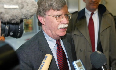 U.S. Undersecretary of State John Bolton outside negotiations with the IAEA on Libya's nuclear program, Vienna, Jan. 2004.