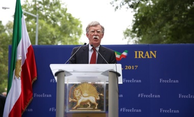 John Bolton speaking at the gathering of the People's Mujahedin of Iran in front of headquarters of the United Nations, New York City