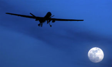 An unmanned U.S. Predator drone flies over Kandahar Air Field, southern Afghanistan.