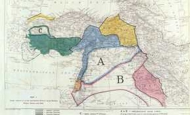 A map illustrating the 1916 Sykes-Picot agreement.