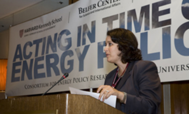 "Time to Act: Kelly Sims Gallagher, director of the Center's Energy Technology Innovation Policy research group, welcomes participants to the ""Acting in Time on Energy Policy"" conference."