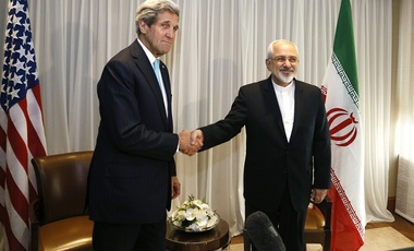U.S. Secretary of State John Kerry, left, with Iranian Foreign Minister Mohammad Javad Zarif before a meeting in Geneva, Jan. 2015.
