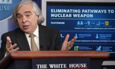 U.S. Energy Secretary Ernest Moniz briefs reporters about the recent international agreement on Iran's nuclear program.