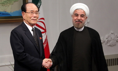 Iran's President Hassan Rouhani (R) shakes hands with North Korean official, Kim Yong Nam, in Tehran, August 3, 2013.