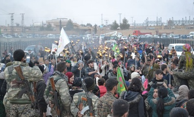 A funeral ceremony in Kobani, Syria