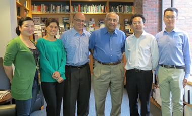 ETIP researchers and planners (left to right) Di Xia (former fellow), Laura Diaz Anadon, Henry Lee, and Venky Narayanamurti, with Professor Su Jun from Beijing's Tsinghua University, and former ETIP fellow Yue Guo.