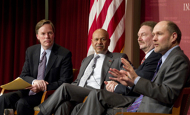 "Moment in Time: Stephen Walt (right), discusses U.S. foreign policy at the JFK Jr. Forum ""Libya After the No-Fly Zone: Political Change or Civil War?"""