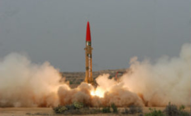 Test launching of Pakistan-made Ghaznavi missile at undisclosed location in Pakistan Thursday, May 10, 2012. Pakistan successfully test-fired a short-range missile capable of delivering a nuclear warhead, Pakistan's military said.