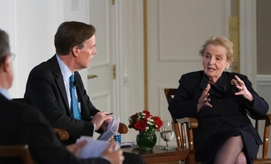 """Personal relationships do ease things a lot,"" said former U.S. Secretary of State Madeleine Albright in conversation with the Harvard Kennedy School's Nicholas Burns (left), one of the three faculty directors of the American Secretaries of State Project."